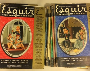 Complete Esquire Magazine set for 1941 and bonus December 1940