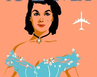 Atlanta Georgia Delta Airlines Vintage United States of America Travel Advertisement Art Poster