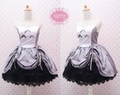 Lovely Totoro Sleeveless Dress With Adjustable Black Brocade Skirt - Totoro Birthday Dress - Totoro Costume - Custom in your size