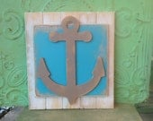 Turquoise and Gray Anchor Hanger, Wooden Home Decor Anchor Sign, Rustic Anchor Mantle Sign, Gallery Wall Signs