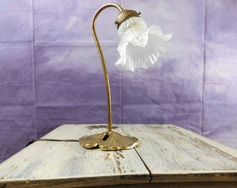 Vintage Victorian style tulip shade gooseneck lamp with lily pad base