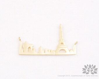 P767-MG//Matt Gold Plated France Paris Eiffel Tower Pendant, 2 pcs