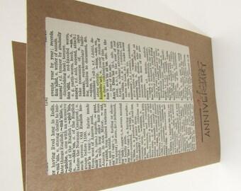 HAPPY ANNIVERSARY Dictionary Page Greeting Card Blank Inside Handmade Anniversary Card