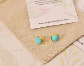 You're a Gem - Gold Turquoise Stud Gemstone Earrings