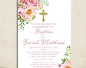 Boho Peony Flower Girl Baptism Invitation Watercolor Floral Invite