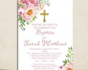 Girl Baptism Invitation Printable Invitation Spring Baptism Invitation Christening Floral Invite
