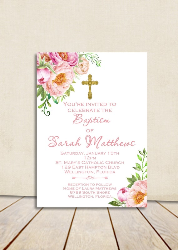 Girl Baptism Invitation Printable Invitation Spring Baptism Invitation Christening Floral Invite