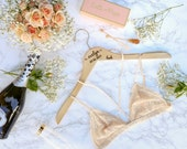 Personalized Wood Engraved Wedding Hanger with Arm Inscription