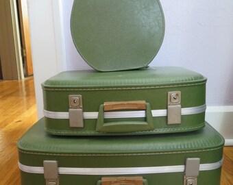 Vintage 1960's SET (3) Avocado Green Hard Shell Suitcases, Decor, Wedding, Storage, Travel