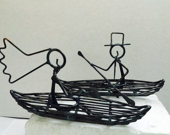 Bride and Groom Kayaks Wedding Cake Topper, 6 inches