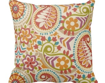 Outdoor Pillows, Blue Orange OUTDOOR Pillows, Throw Pillows, Orange Patio Pillows, Outdoor Medallion Pillows, Pillow Covers