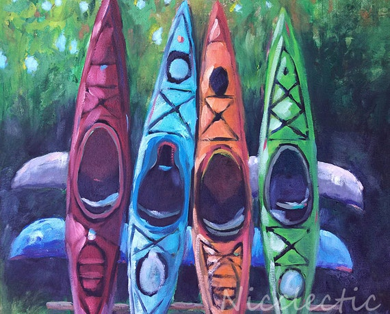 Colorful kayaks, lake house art, water sports, mountains, lake, red kayak, outdoors, Poconos, summer, lakehouse, gifts for dad, lake decor