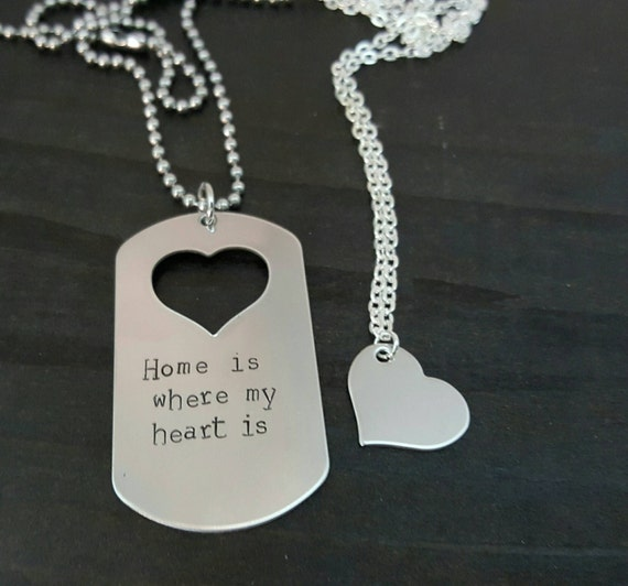 home is where my heart is military couple set hand stamped. Black Bedroom Furniture Sets. Home Design Ideas