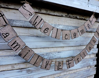 Home Decor Everyday Banner - Welcome Banner - Year Round Mantle Decor - Friends and Family Welcome Sign - Everyday Banner For Mantle