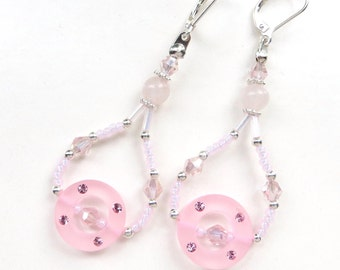 PINK SPARKLE- Beaded Lucite Earrings with Pink Jade and Sparkling Crystals- Silver Plated Leverback Earwires