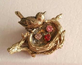 Vintage bird nest brooch Anson Sterling silver