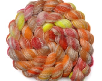 Hand painted roving - Bamboo / Merino wool spinning fiber - 4.0 ounces - Blood Orange