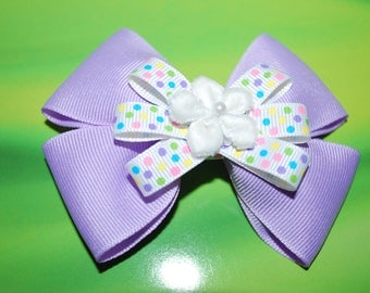 Lilac and Polka Dotted Stacked Bow