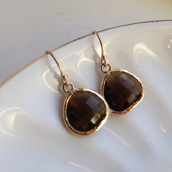 Smoky Brown Earrings Gold Plated - Bridesmaid Earrings - Wedding Earrings - Bridesmaid Jewelry