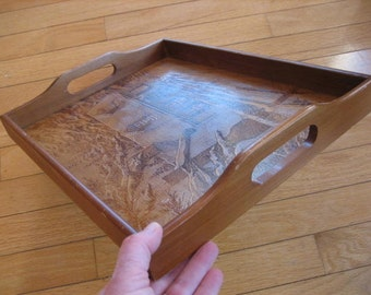 1987 House of LLoyd Wooden Serving Tray House in Winter Pyrography Look