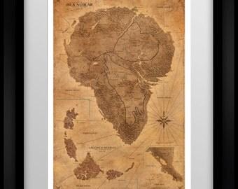 Jurassic Park Map - Sepia - Poster - Isla Nublar Map - Print - Vintage World Map - Dinosaur