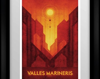 Space Travel Poster - Mars - Valles Mariners