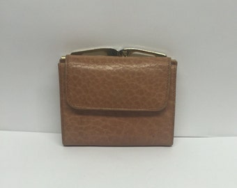 Jordan Marsh wallet pink mauve change purse, clipped closure