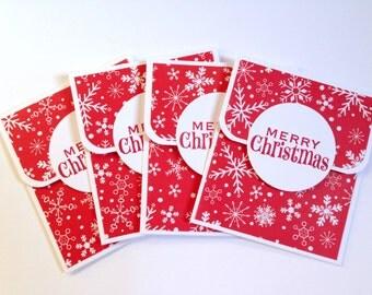 Merry Christmas Gift Card Holder Set - Snowflake Holiday Gift Card Holder - Christmas Money Holder - Gift Card Envelope - Coworker Gift