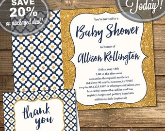 Baby Shower Package, Invitation, Thank You Card, Baby Boy, Navy, Gold Glitter, Flowers, Geometric, Printable File (INSTANT Download)