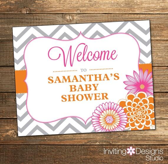 Chevron Baby Shower Welcome Sign - Pink Orange