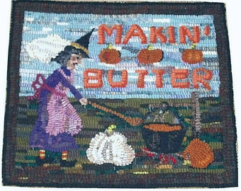 Primitive Hooked Rug Witch Makin' Pumpkin Butter