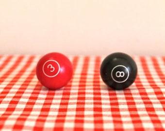 "vintage mini pool balls - 3 & 8 BALLs red and black balls / 1"" diameter"