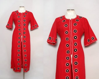 Vintage 1950s Bohemian Tunic / Embroidered Boho Dress / Large