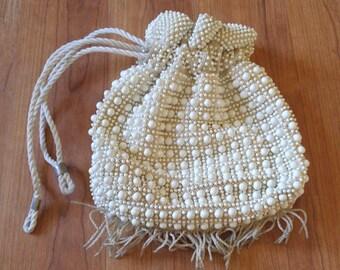 60s Ivory beaded fringed drawstring bag purse