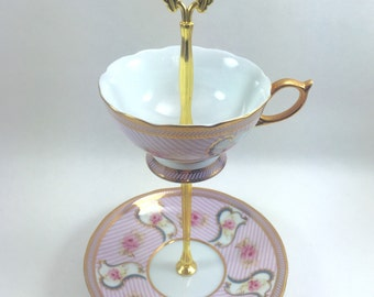 Pink Pin Stripes Teacup Tray Jewelry Display Gift
