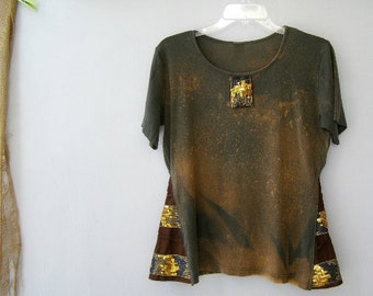 Funky Khaki Tshirt, Upcycled Boho Summer XL Shirt, Batik Tie Die Cotton Women Top Everyday Eco Clothes, Rustic Green Brown Altered Clothing