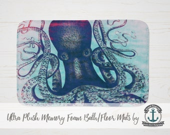Plush Bath Mat - Octopus | Nautical Sea Life Beach House Decor | Thick Memory Foam + Mold Resistant | Choose Size at Checkout.