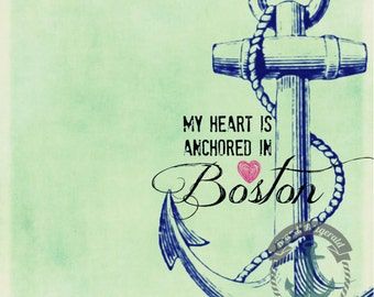 Boston Anchor | Beantown Love Inspired Nautical Decor | At Checkout, Choose Lustre Print or Gallery Wrapped Canvas