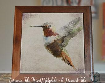 "Trivet Hot Plate:  Hummingbird  |  Beautiful Abstract Colors Nature Decor  |  6"" Ceramic Trivet or Tile Kitchen Accessory"