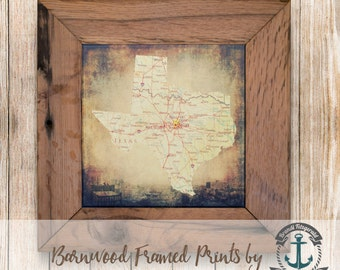 Dallas Texas Map, Dallas Skyline - Framed in Reclaimed Barnwood Cities & Travel Decor - Handmade Ready to Hang | Size and Price via Dropdown