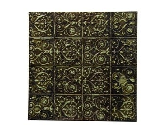 Decorative swirly green & black tin panel