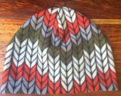 Fleece hat, knit print, winter hat