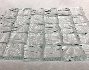 """CRYSTAL FLOWER """"ICE"""" 1/2"""" Textured Glass Mosaic Tile Supply Ice2"""