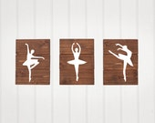 Nursery Decor, Ballet, Set of 3, ballerinas, nursery decor, Wooden decor, girl nursery decor