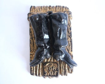 Antique Cast Iron Match Holder Striker of Pair of Boots For Sale, Unique Rustic Decoration for Primitive Country Home, Housewarming Gift