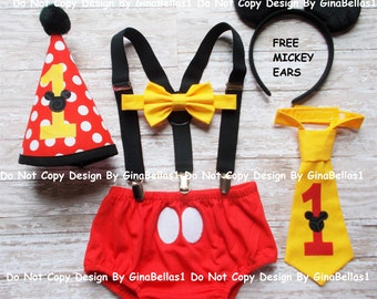 Mickey Mouse Birthday outfit cake smash suspenders FREE EARS diaper cover bow tie or I am one tie costume Red Hat 12 18 24 m toddler SALE