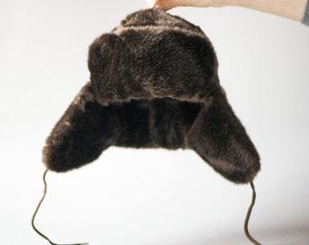 Dark brown faux fur ushanka hat, trooper hat unisex, faux fur ushanka for small head very good condition, Russian style fur cap ear flaps