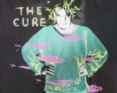 Reserved to Trinity Vintage 80s 1986 Robert Smith The Cure Beach Party Tour Emo Punk Goth Rock Black T-Shirt Large Size, Thin, Rare