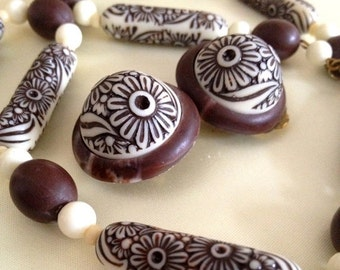 FALL SALE 50s W Germany Carved Bead Demi - W Germany 1950s - Chocolate Brown and Cream Floral