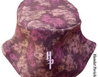 Camouflage Splatter Unisex Bucket Hat | Brown Camouflage Hat | Camo Hat | Brown and Purple Splotch Hat by Hamlet Pericles | HP11815b